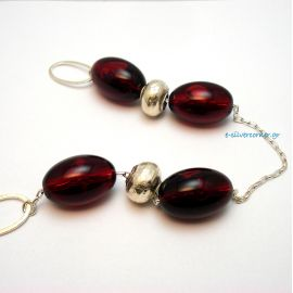 Silver Worry Beads with Synthetic Amber Stones in Cherry Red