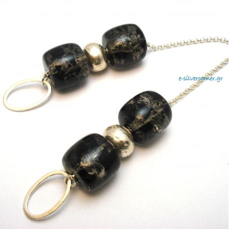 Silver Worry Beads with Synthetic Amber Stones in Ash Grey
