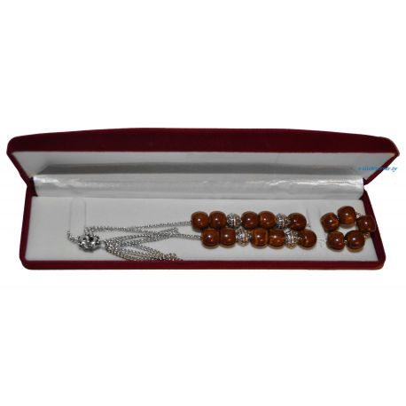 Metal Worry Beads with Brown Stones