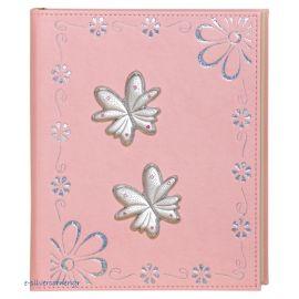"""Παιδικό Άλμπουμ Δερμάτινο Ροζ """"Μαργαρίτες - Πεταλούδες"""""""