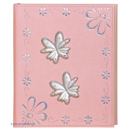 Pink Leather Photo Album with Daisies and Butterflies