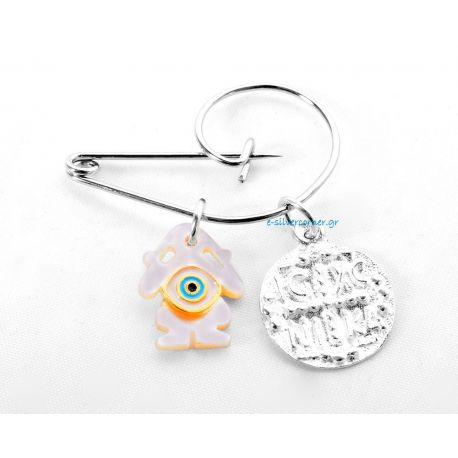 Silver Baby Girl's Pin with Byzantine Talisman and Eye Charm