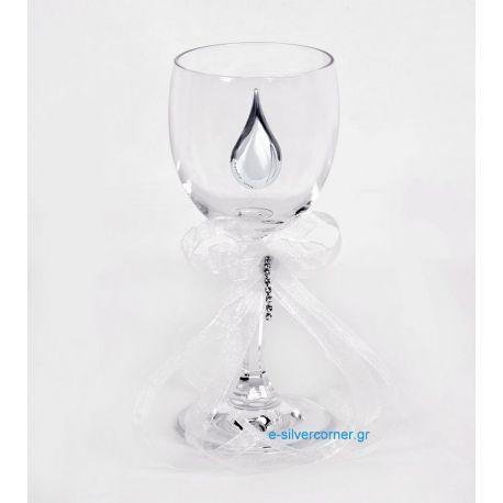 Ποτήρι Κρασιού για Γάμο 032 με Ασήμι