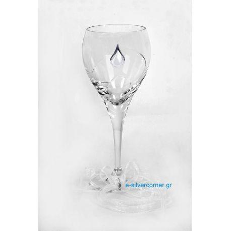 Crystal Wedding Wine Glass BOHEMIAN LILLY SILVER