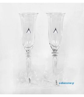 Crystal champagne glasses 169/S (2 pieces) - Sterling silver decoration
