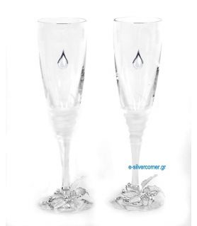 Crystal champagne glasses 187/S (2 pieces) - Sterling silver decoration