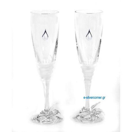 Champagne Glasses SP CHAMPAGNE GARDENIA SILVER