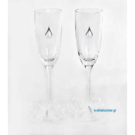 Champagne Glasses BOHEMIAN SPRING SILVER