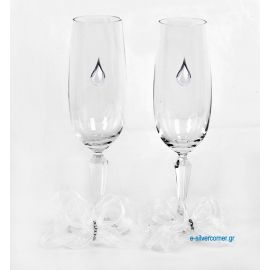 Crystal champagne glasses 205/S (2 pieces) - Sterling silver decoration