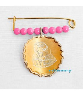 Gold-Plated Sterling Silver Baby Girl's Pin with Pink Stones