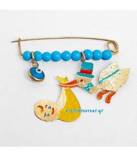 Gold-Plated Sterling Silver Baby Boy's Pin Stork